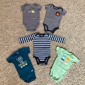 Bundle of 5 Bodysuits Baby Boys 3-6 Months